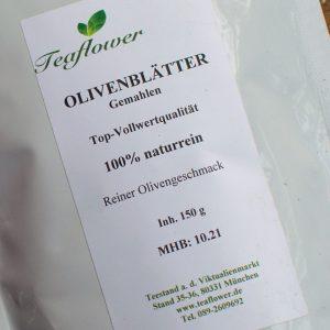 Olivenblätter gemahlen Top Vollwert-Qualität 100% naturrein Olivengeschmack / 150 g